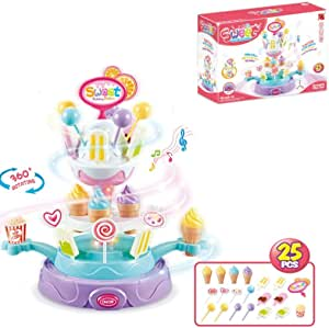 wodtoizi Ice Cream Cupcake Candy Toy Playset Rotating Food Plate Pretend Play Food Desserts Colorful Lights Wonderful Music Birthday Christmas Gift for Boys Girls Kids 25 Pieces