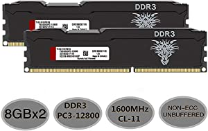 Yongxinsheng DDR3 RAM (8GBx2) 16GB Kit 1600MHz Desktop Memory UDIMM (PC3-12800) CL11 240Pin 1.5V Non-ECC Unbuffered Computer Stick Upgrade Module