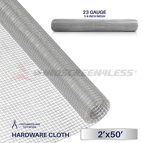 Windscreen4less 23 Gauge 1/4 Inch Square Galvanized Mesh Hardware Cloth 24-Inch Tall Custom Size Cut-to-length 2ft x 50ft