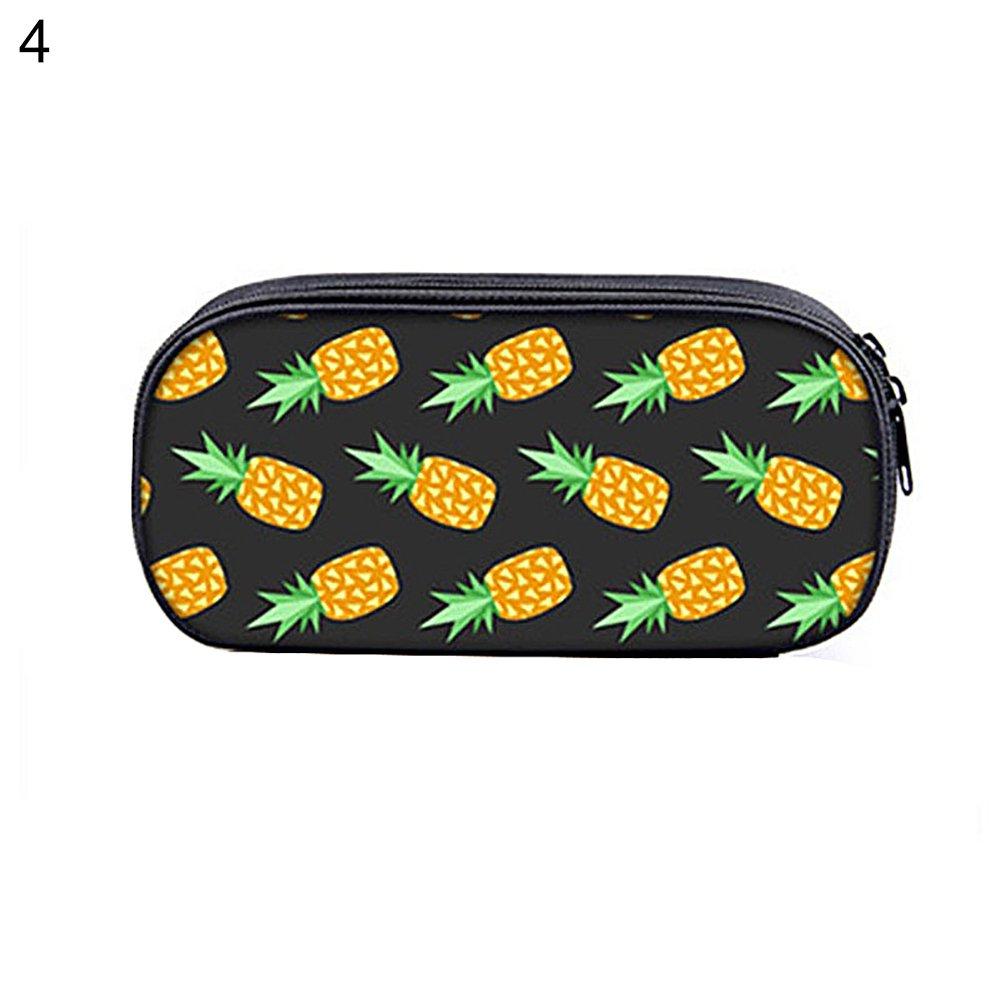 Zhouba color/é Ananas Grande capacit/é double fermeture /éclair /école /étudiant papeterie Taille unique #2