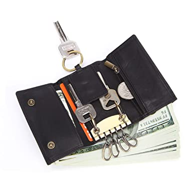 81ab9fe34984 Mayshe Men s Genuine Leather 7 Hook Key Case Car Key Holder Wallet Coin  Purse Black