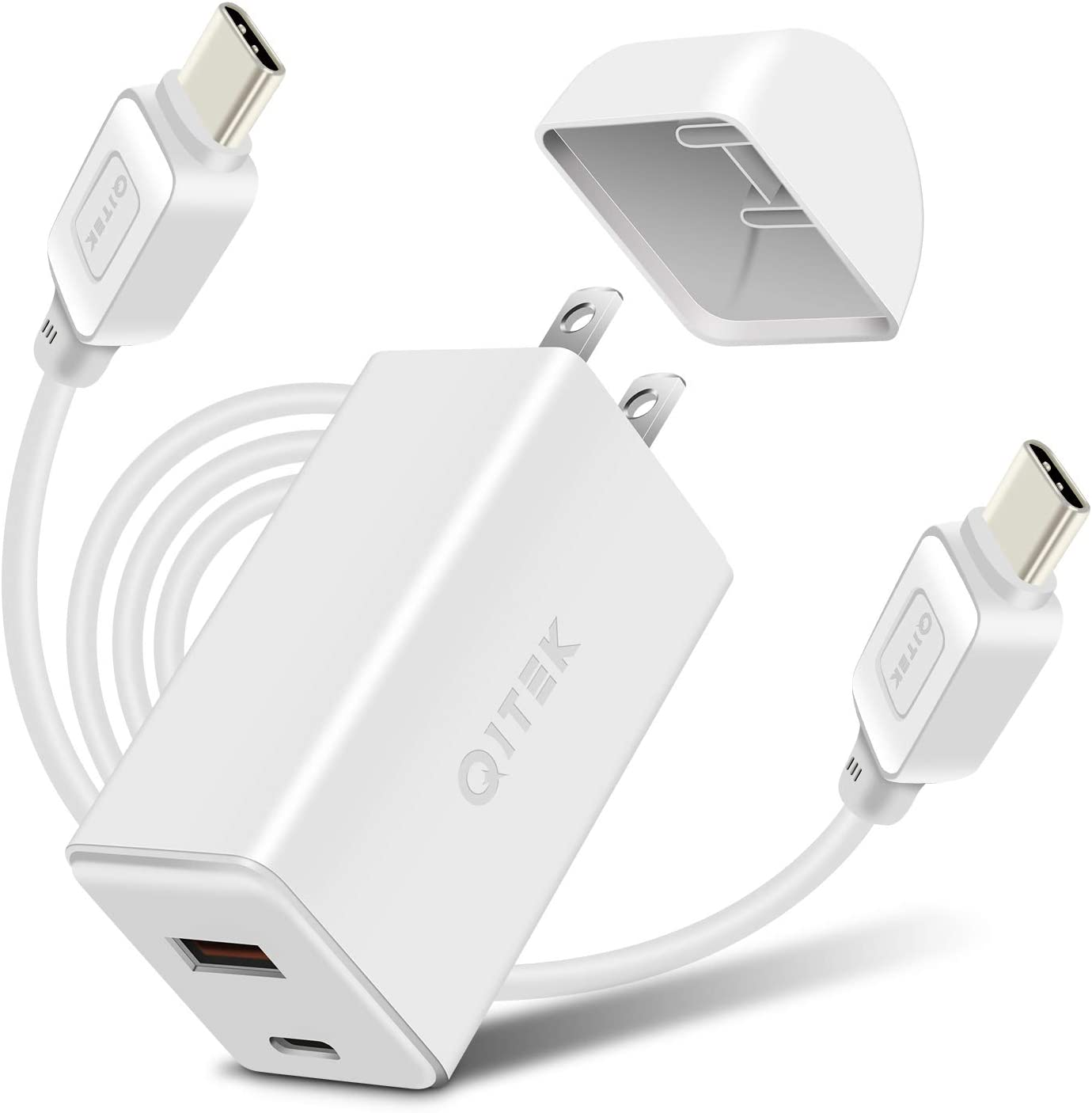 USB Charger, 65W USB C Charger USB A Dual Ports with GaNTech Wall Charger for iPhone, AirPodsPro, Google Pixel3XL, MacBook, World's Smallest Laptop Adapter Compact Acer/Dell/HP&More - White