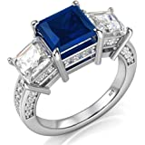 Metal Factory 925 Sterling Silver Princess Cut Blue & White Cubic Zirconia CZ Engagement Ring