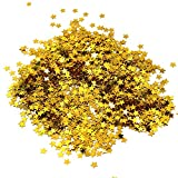 Md Trade Star Confetti Stars Glitter Confetti Metallic Foil Stars Sequin for Party Wedding Decorations and Nail Art, 90 Grams/3 Ounce(Gold)