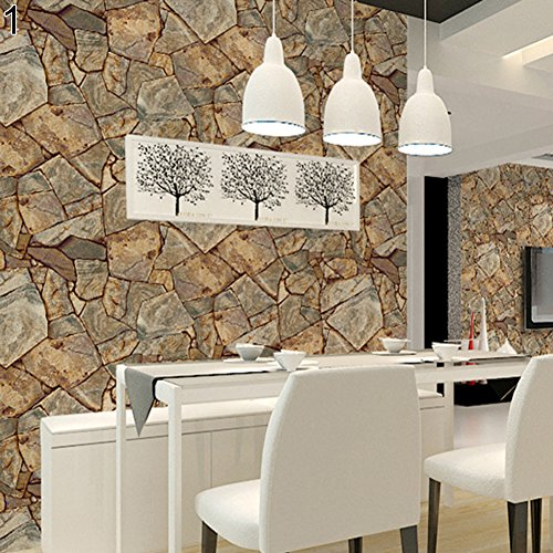 (dezirZJjx Wall Decals Stickers,3D Retro Rustic Stone Rock Pattern Waterproof Wall Paper Home TV Background Decor - 1#)