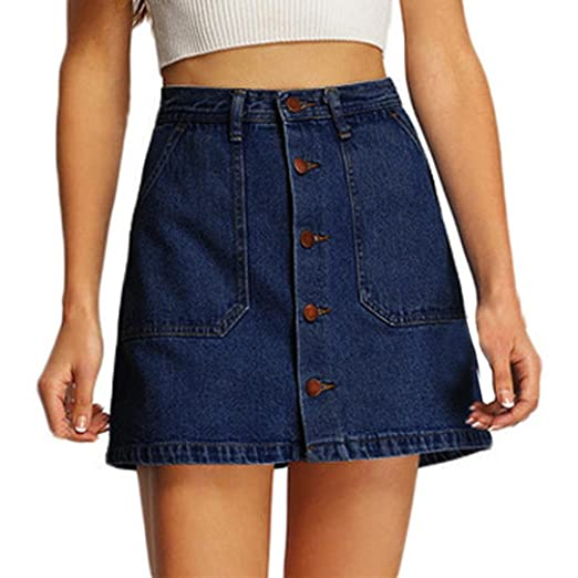 ShiTou Skirts, Summer Women High Waist Short Sexy Pockets Blue Denim Skirts (s)