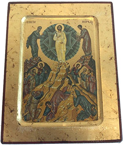 Holy Land Market Transfiguration Of Our Lord Icon With Sheets Of Gold  Lithography   7 25 X 5 75 Inches