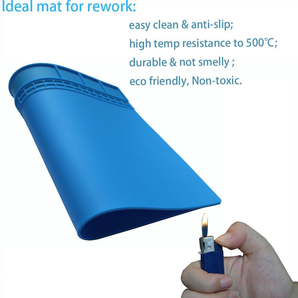PHIMIITA tapis de soudure Heat Resistant 500/°C Mini Soldering Working Station Insulation Pad for Phone Soldering Iron and more Electronic Repair big, blue