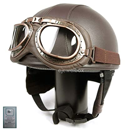 73e5392911 Image Unavailable. Image not available for. Color  Vintage Motorcycle  Motorbike Scooter Half Leather Helmet Brown wlth Free Goggles ...