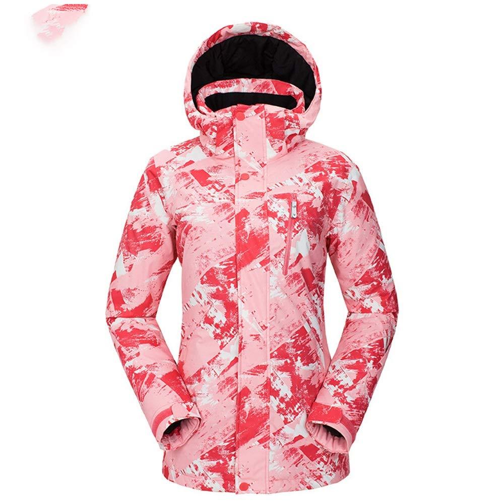 AUMING Skianzug Skijacke Wasserdichter winddichter Mantel für Damen Snowboard Mountain Regenjacke Helle Bunte Skijacke (Farbe   Texture - Rosa - Female, Größe   M)