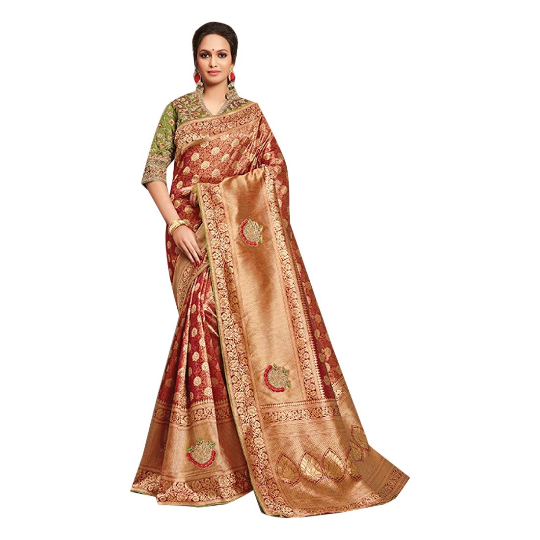 Copper gold Indian Traditional Festive Designer Saree Women Sari with Blouse piece Evening Party wear 7835