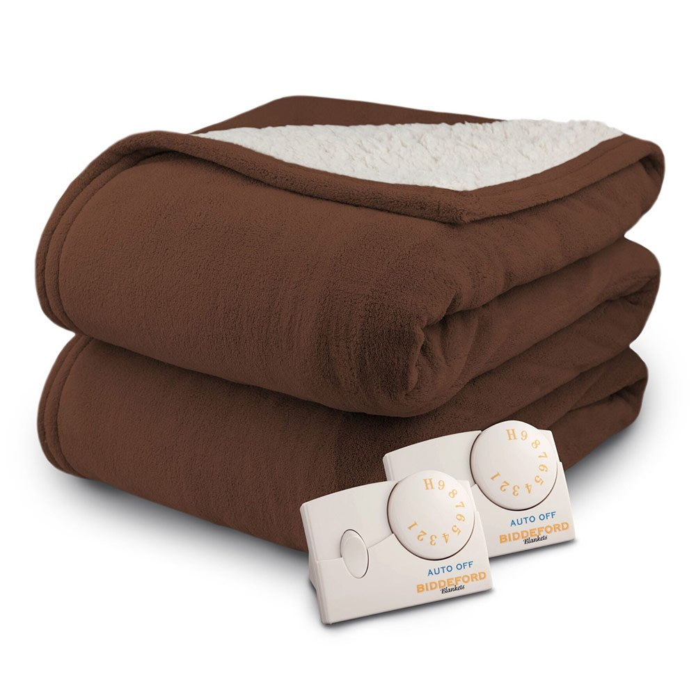 Pure Warmth by Biddeford MicroPlush Sherpa Electric Heated Blanket King Chocolate
