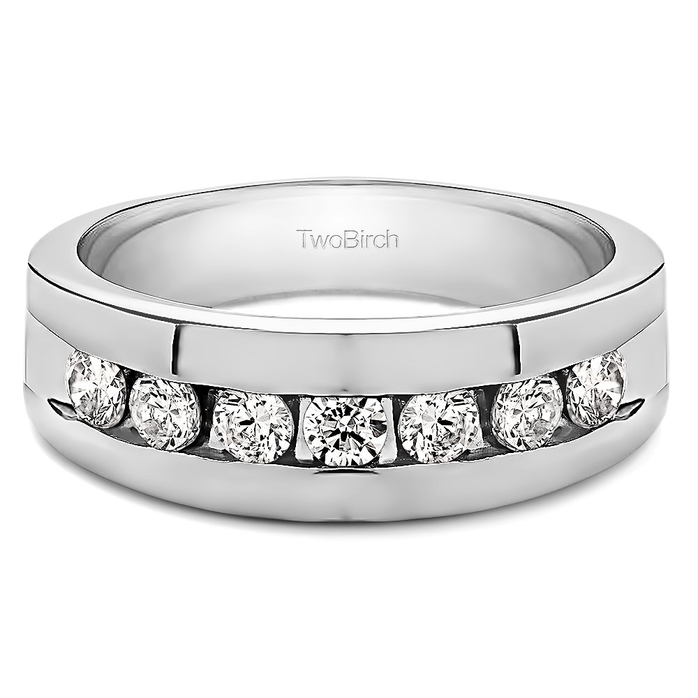 Sterling Silver Mens Wedding Band Charles Colvard Moissanite 0.24Ct Size 3 to 15 in 1//4 Size Intervals
