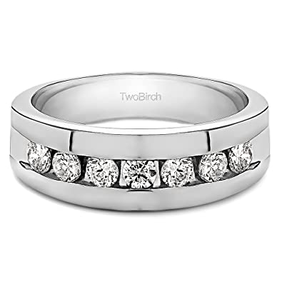 Size 3 to 15 in 1//4 Size Intervals 0.5Ct Sterling Silver Gents Wedding Ring Black Cubic Zirconia