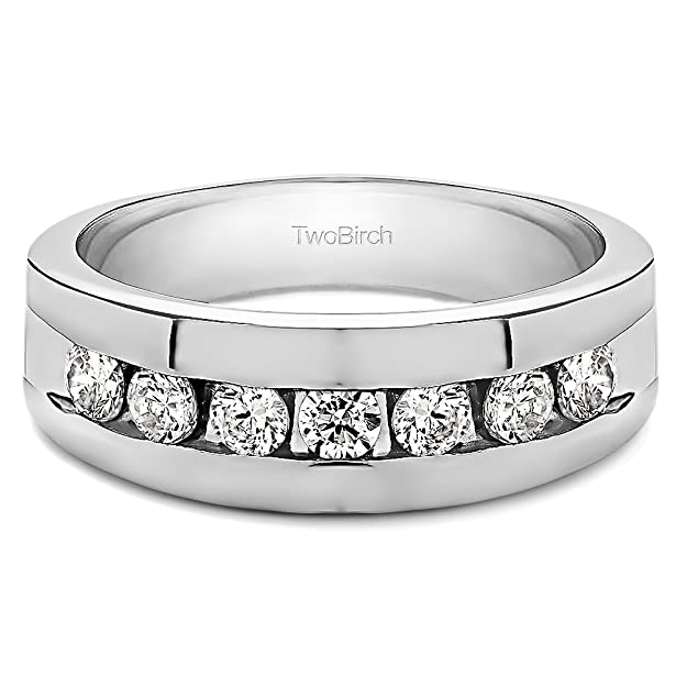 0.24Ct Size 3 to 15 in 1//4 Size Intervals Sterling Silver Gents Wedding Ring Cubic Zirconia