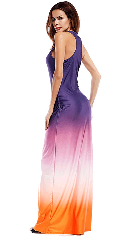 b1ec765fe62 Arctic Cubic Sleeveless Tie Dye Gradient Color Long Maxi Bodycon Column  Dress Purple Orange XL at Amazon Women s Clothing store