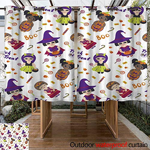 RenteriaDecor Outdoor Curtain for Patio Halloween Vector Seamless Pattern with Kids in Costumes W96 x L72 -