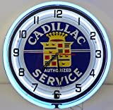 "Cadillac 18"" Double Neon Clock Service Parts Dealer Garage Log Emblem Car Sign"