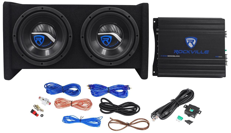 Rockville RV8.2A 800 Watt Dual 8'' Car Subwoofer Enclosure+Mono Amplifier+Amp Kit by Rockville