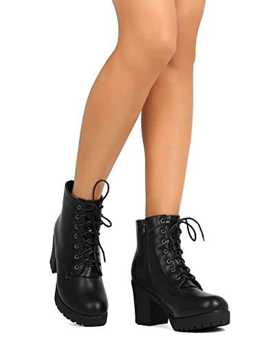 FG23 Women Leatherette Lace Up Chunky Heel Combat Bootie - Black