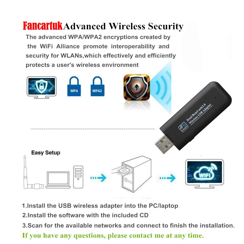 AC 1200Mbps USB 3.0 Wireless Network Dongle for Desktop//Laptop with Dual Band 802.11 AC 2.4G//300Mbps+5.8G//867Mbps Support Windows XP//Vista//7//8//10//Linux//Mac OS Fancartuk USB WiFi Adapter