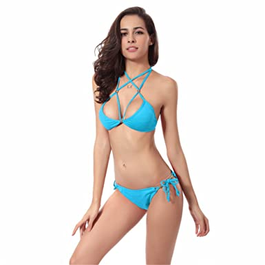o-c Damen Sexy Bikini Set, Blau