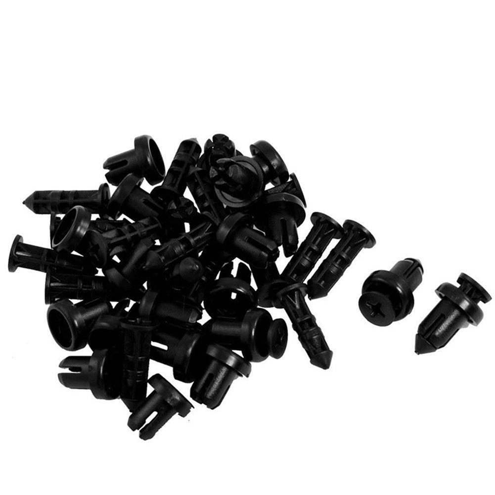Da.Wa 20Pcs Plá stico Negro 9mm Orificio De presió n Extensibles Tornillo Clips Del Panel Remache