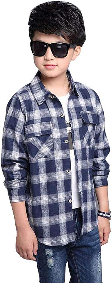 Camisa de Cuadros para Niño, Camisa de Manga Larga para Niños, Camisa Casual 3-12 años: Amazon.es: Ropa y accesorios