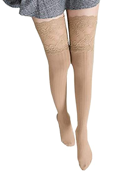 75fa4689b Zelta Women's Lace Top Over the Knee Socks Stocking Knee-High Hosiery Soft  Cotton (