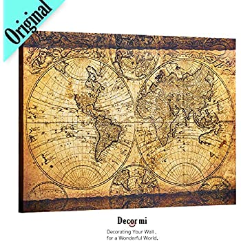 Amazon decorarts 1652 world map by claes janszoon visscher decor mi vintage world map canvas wall art retro map of the world canvas prints framed and stretched for living room ready to hang 24x35 gumiabroncs Image collections
