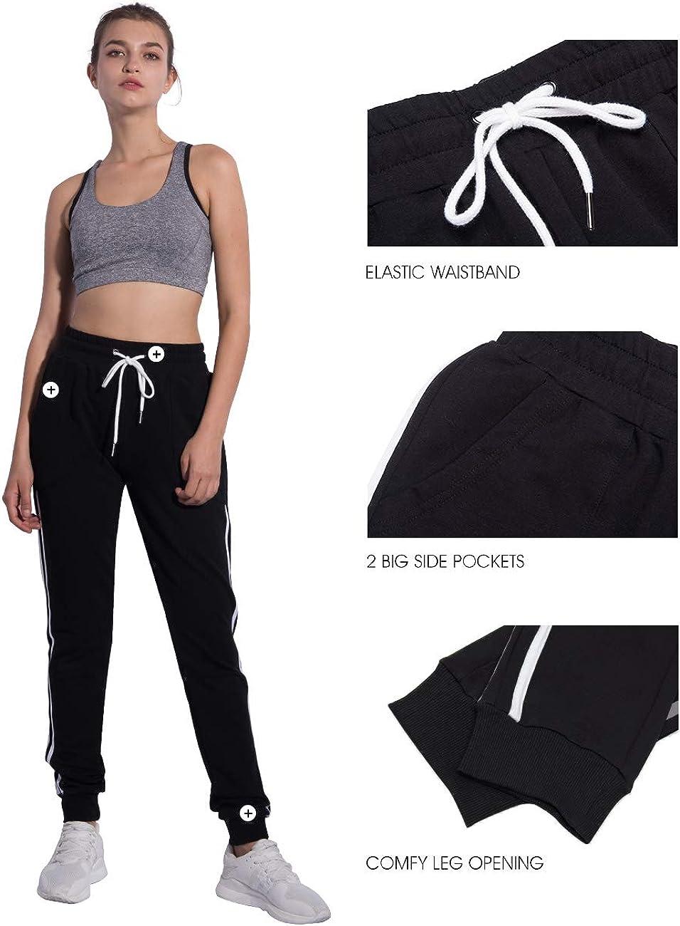 PULI Womens Running Jogger Sweatpants Lounge Workout Lightweight Legging Sweat Pants Pockets