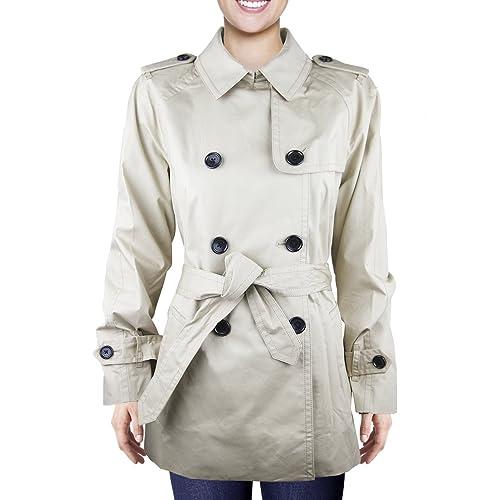 Coach – Gabardina para mujer, color beige, talla L