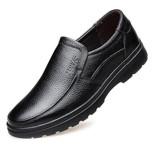 MXNET Hommes Mocassins Chaussures, Véritable Cuir de Vache Supérieur Conduite Voiture Flats Mocassins Slip-sur pour Hommes (Couleur : Black, Size : 47 EU)