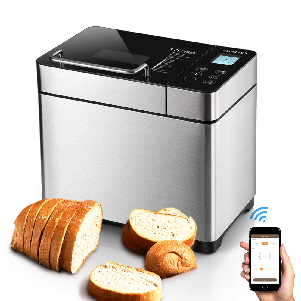 ALBOHES Bread Maker Machines 2.2LB Stainless Steel Gluten Free Bread Machine with Detachable Fruit & Nut Dispenser/Built-in Programmable Breadmaker for Beginner 17 Menu Settings APP Control