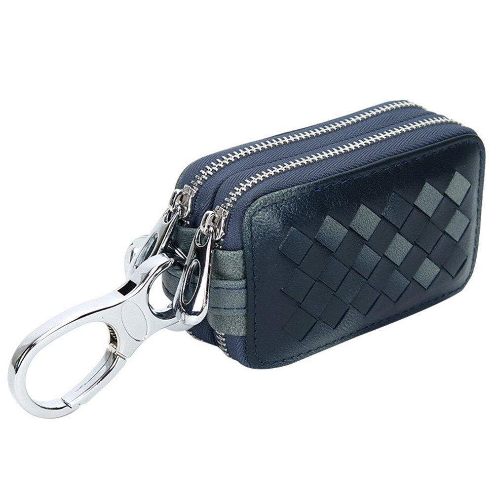 MuLier Genuine Leather Sheepskin Weave Pattern Key Chain Holder Case Car Key Pouch ID Window Key Wallet Black KB0018-Black