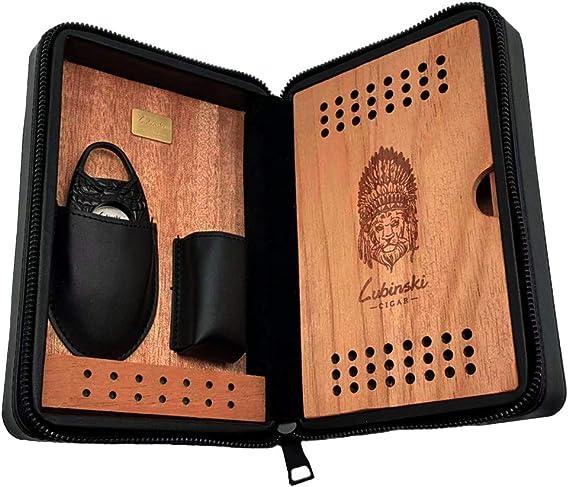 LUBINSKI - Funda de piel para humidificador de cigarros, portátil de viaje, funda de piel de cocodrilo con cortador de cigarros para 4 cigarrillos, empaquetado con una bonita caja de regalo negro: