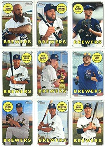 2018 Topps Heritage Milwaukee Brewers Team Set of 14 Cards: Domingo Santana(#13), Zach Davies(#17), Stephen Vogt(#49), Eric Thames(#62), Josh Hader(#150), Orlando Arcia(#155), Travis Shaw(#204), Jimmy Nelson(#242), Keon Broxton(#243), Brett Phillips(#283), Corey Knebel(#313), Manny Pina(#344), Eric Sogard(#380), Brandon Woodruff/Aaron Wilkerson/Taylor Williams(#394)