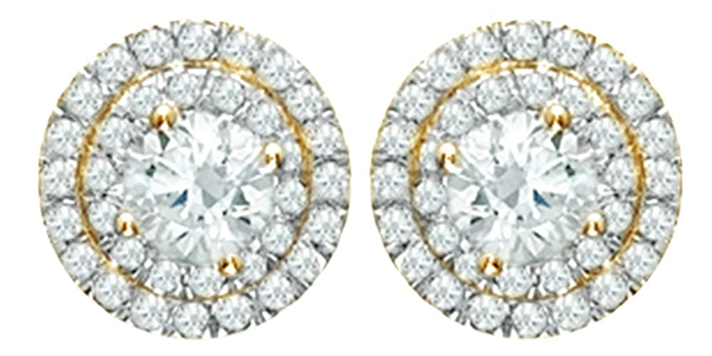 Weißszlig; natur Diamant Doppel Rahmen Ohrstecker in 14 ct 585 Weißszlig; Gold massiv (0,5 cttw 14 Karat (585) GelbGold