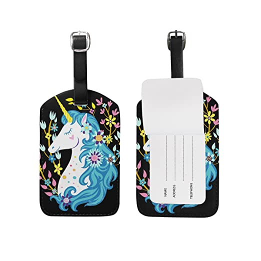 6451126074e6 Amazon.com | U LIFE Floral Unicorn Flower Luggage Tag Travel Baggage ...