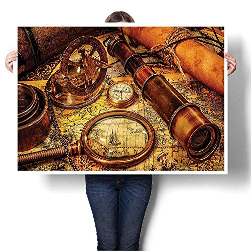 SCOCICI1588 Canvas Wall Art Large Romantic Oil Painting Magnifying Glass Compass Telescope and PockWatch an Old Map Nautical On Canvas,16