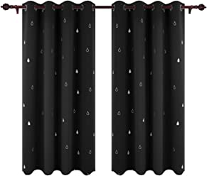 Deconovo Window Treatment Super Soft Thermal Insulated Silver Water Drop Printed Eyelet Blackout Curtains For Bedroom