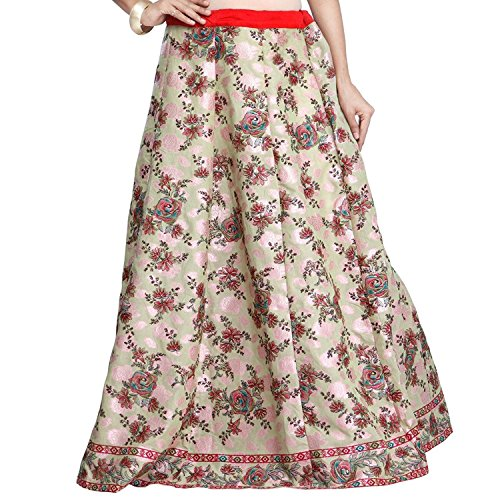 Export Beige Chanderi Skirt Women Handicrfats Butta Admyrin Indian gwPq4Zx