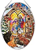 Amia Oval Suncatcher with Baby Jesus and Nativity Design, Hand Painted Glass, 6-1/2-Inch by 9-Inch