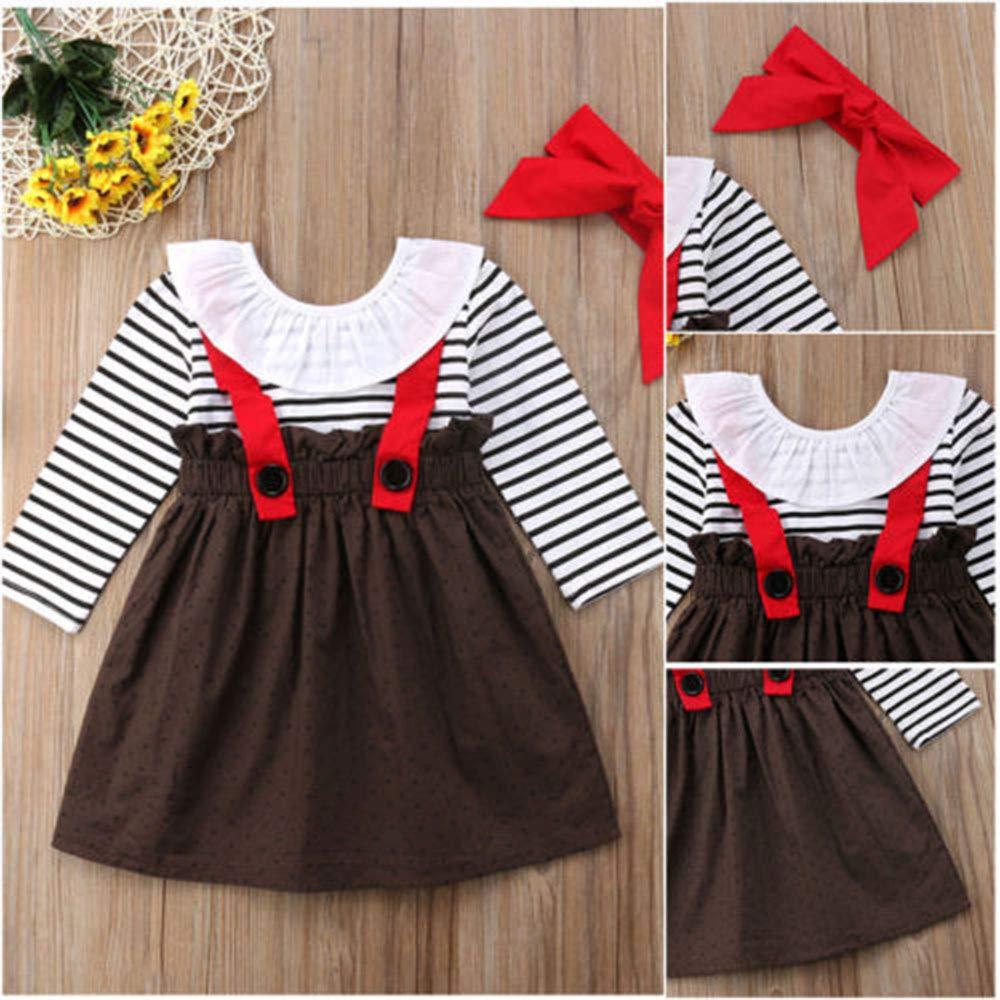 0525be305ed Amazon.com  YOUNGER TREE Toddler Girl Outfits 1-4 T Long Sleeve Shirt  Overall Skirt Headband Set School Uniform Dress  Clothing