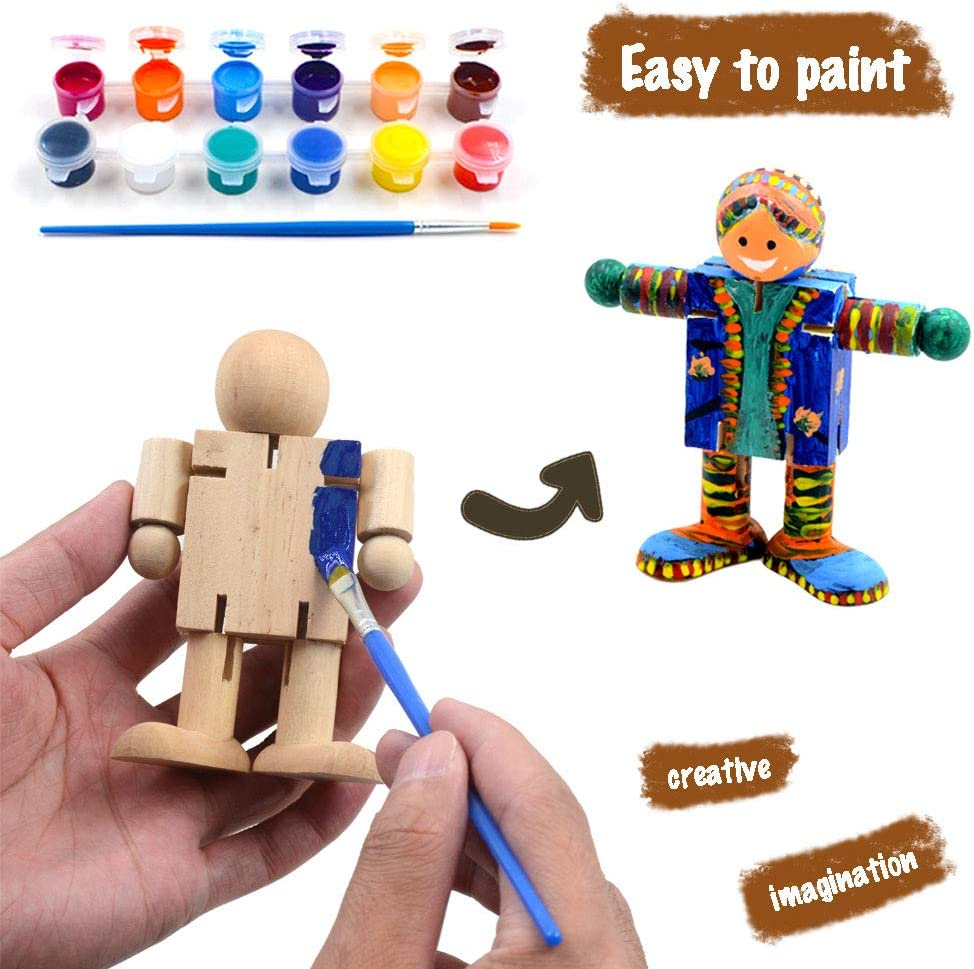 VKTEN 3Pcs Christmas Crafts Paint Your Own Natural Wood Movable Little People Arts /& Crafts for Kids Christmas Toys Stocking Stuffers for Boys Girls Christmas Party Favors