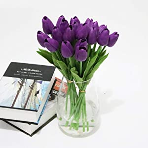 Adarl 10pcs Artificial Flower Artificial Tulip Flower Silk Floral for Home Office Decor Party Festival Weeding Decoration Purple