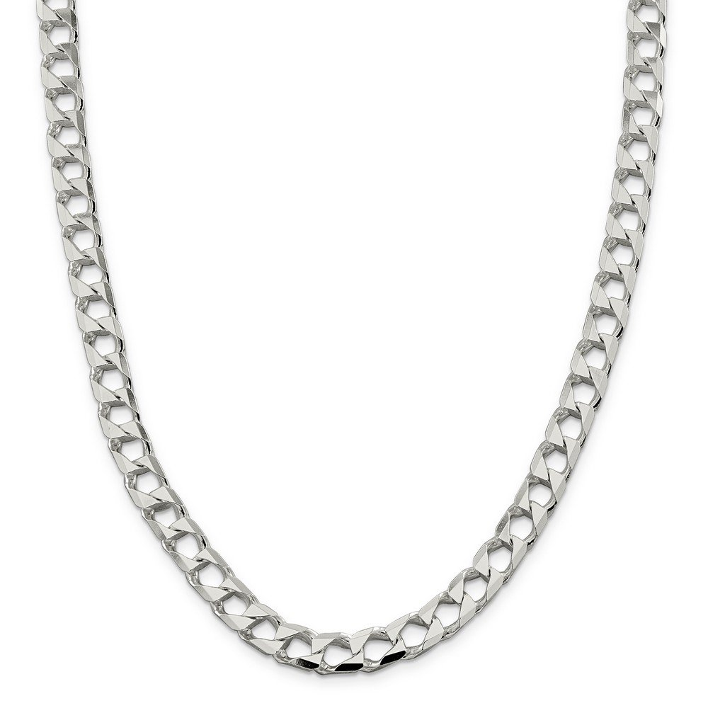 Sterling Silver 8.6mm Polished Open Curb Chain Bracelet - 9 Inch