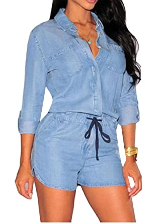 69a2df14599 YUNY Women Long-Sleeve Denim Button Drawstring Casual Short Jumpsuits at  Amazon Women s Jeans store