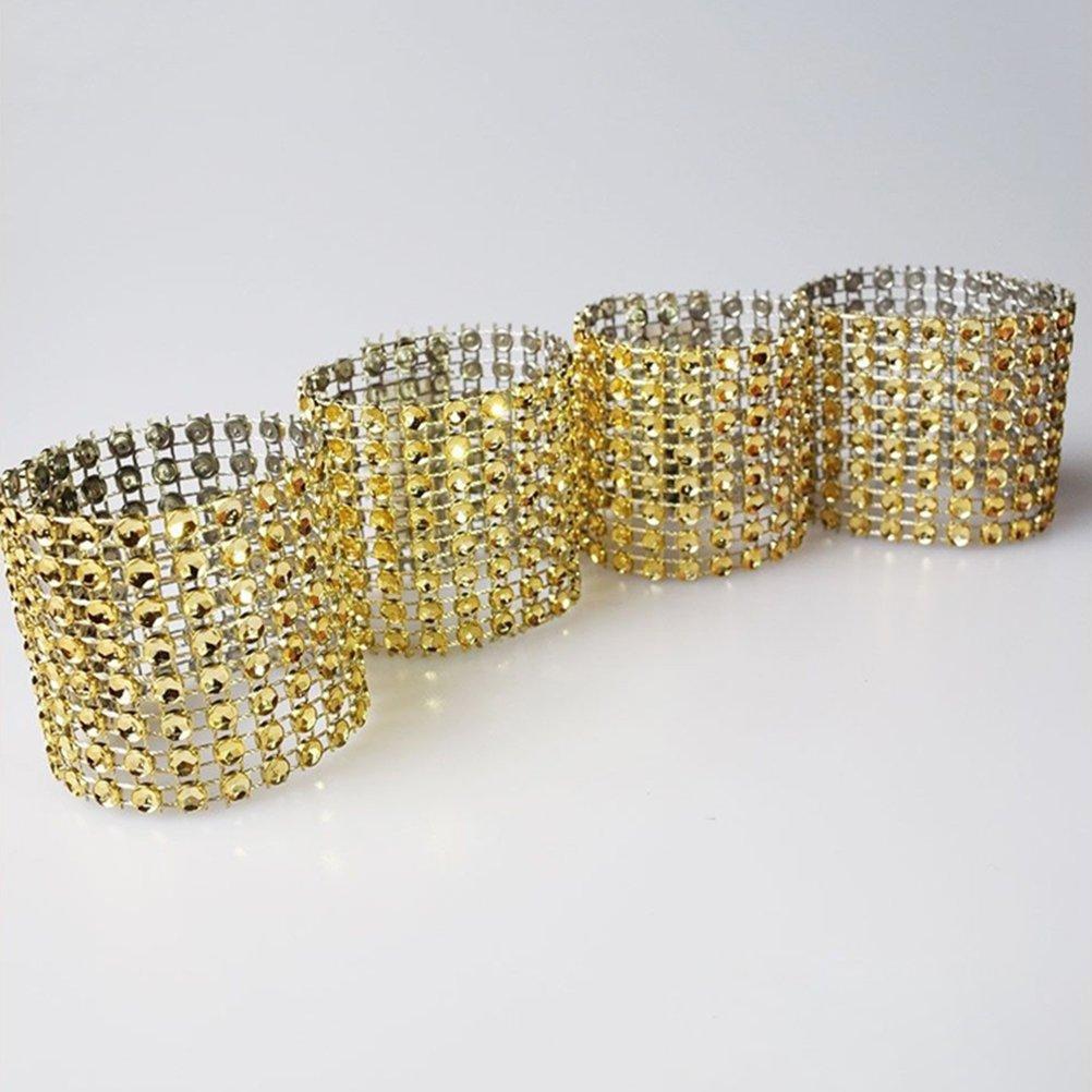 BESTOYARD Anillos de Servilleta de Diamantes de Imitaci/ón Decoraciones de Mesa para Boda Banquetes Resturantes 50 Piezas Dorado