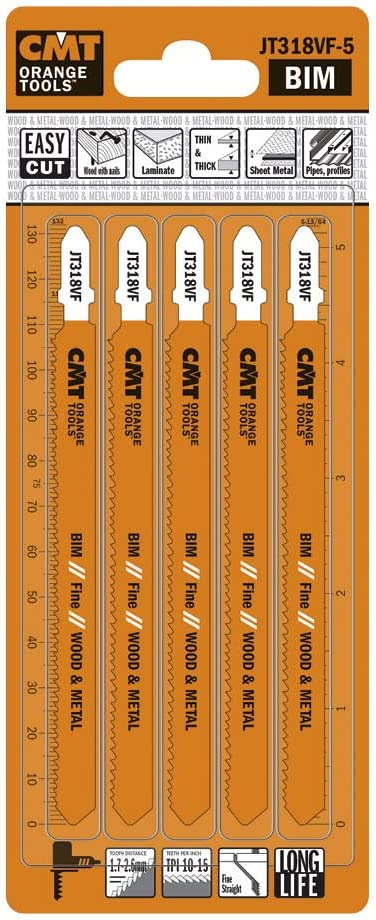 CMT JT318VF-5 Bimetal 8% Cobalt Jig Saw Blade for Wood and Metal, T-shank (5 pack)